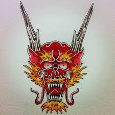 """Vaizdo rezultatas pagal užklausą """"traditional dragon face tattoo"""""""