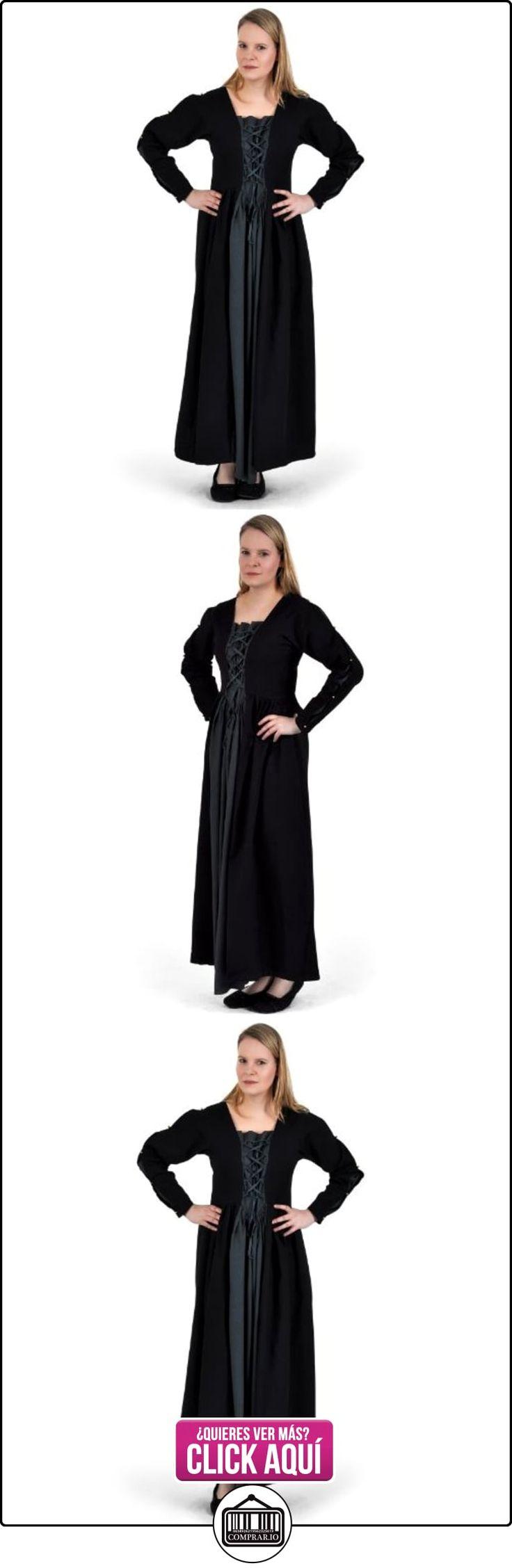 Vestido medieval clásico - mujer - acordonado frontal y trasero - tejido sólido - algodón - negro y gris azulado - XXXL  ✿ Vestidos ✿