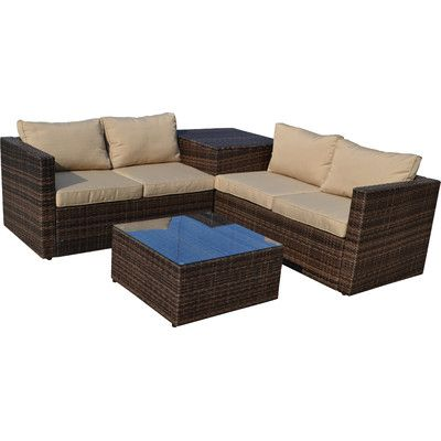 Best Burruss Patio Sectional With Cushions Beige Cushions 400 x 300