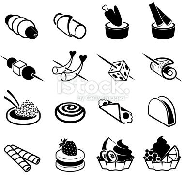 Appetizers black and white royalty free vector icon set Royalty Free Stock Vector Art Illustration
