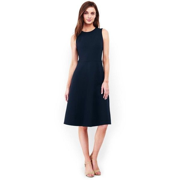 Lands' End Women's Petite Sleeveless Ponte Paneled A-line Dress ($30) ❤ liked on Polyvore featuring dresses, blue, sleeveless dress, evening cocktail dresses, petite special occasion dresses, cocktail dresses and holiday cocktail dresses
