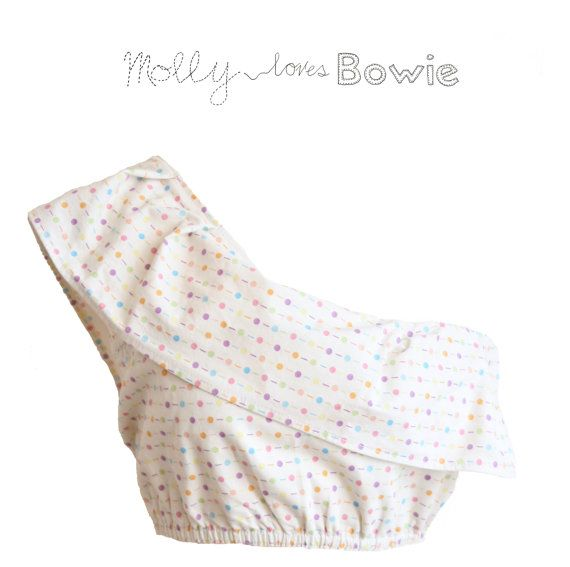 Polka Dot Top Bandeau Style One Shoulder by MollylovesBowie,  Woman's Fashion