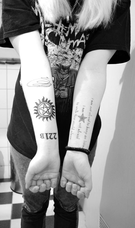 I want to find a way to incorporate my fandoms subtly into my tattoos. 221B and book Sherlock is one, spn quotes another, Narnia, A.A.Milne, Pratchett, The Matrix, HP... I'm going to need more tattoos
