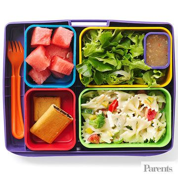 Serve your child a well-rounded lunch with pasta salad, watermelon, and more.