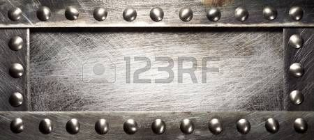bolts heads: Metal plate texture with rivets Stock Photo