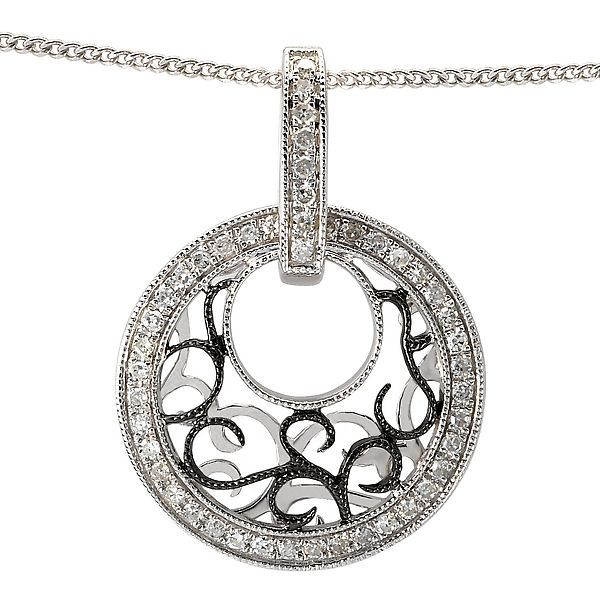 NEW 14k WHITE GOLD CIRCLE ROUND DIAMOND SCROLL DESIGN PENDANT NECKLACE CHARM  #Pendant