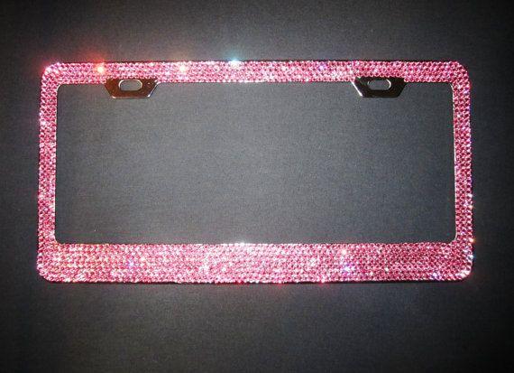 7 Row Light Pink Swarovski Crystal License Plate Frame License Plates And Swarovski