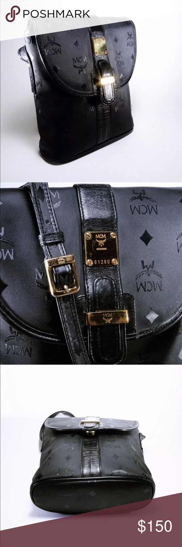 MCM cross body bag Beautiful vintage bag by MCM. Some peeling on the leather inside, but it's all black and smooth so you don't really see it. Otherwise it's in very good condition considering it's age (1989). PRICE IS FIRM!! MCM Bags Crossbody Bags