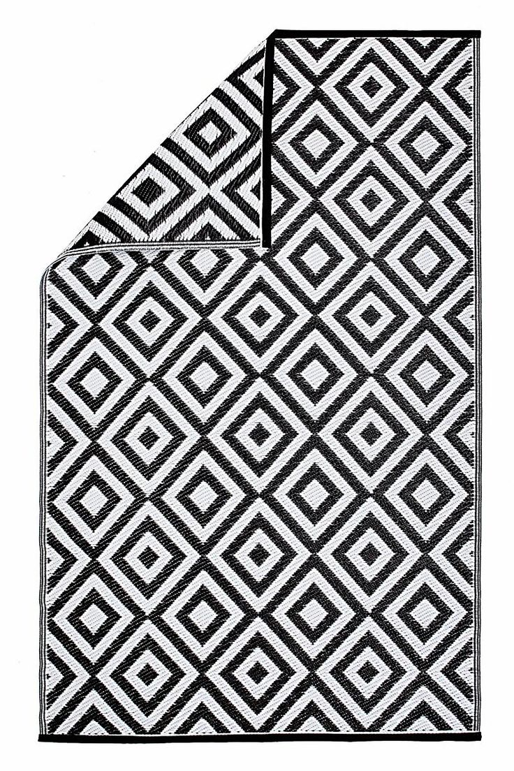 Outdoor-Teppich schwarz/weiß, 180 x 120 , 29,90€