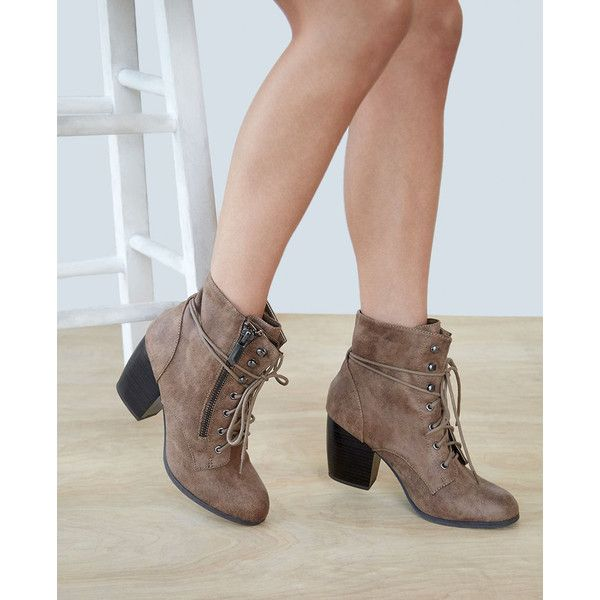 Faux Suede Heeled Combat Boots ($35) ❤ liked on Polyvore featuring shoes, boots, ankle booties, ankle boots, taupe, short boots, combat boots, chunky ankle boots and lace up high heel booties