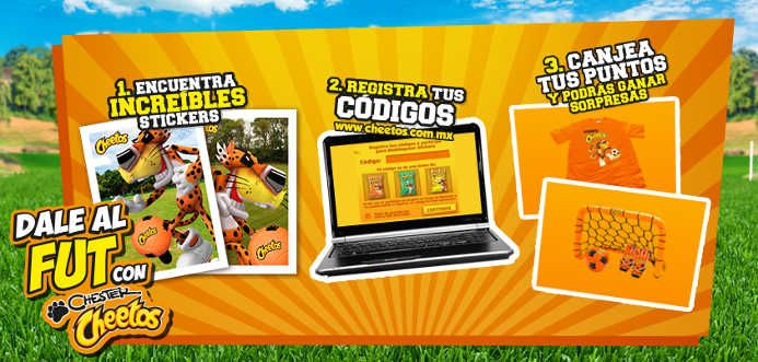 Promoción Chester Cheetos 2014 Gana Productos de Fútbo Promoción Chester Cheetos 2014:Los códigos al reverso de los stickers, que vienen dentro de las bolsas marcadas con tira de tus botanas Cheetos, te servirán para ganar increíbles sorpresas ¿Quieres saber más? ¿Como participar para ganar los ... -> http://www.cuponofertas.com.mx/oferta/promocion-chester-cheetos-gana-productos-de-futbol/