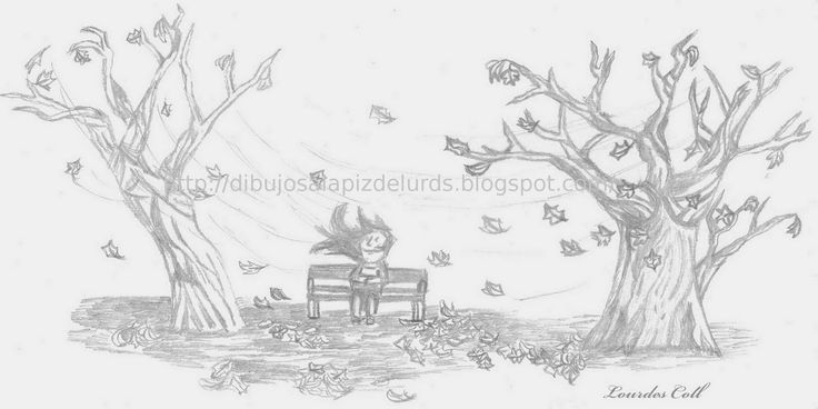 Mis dibujos a lápiz: Paisaje de Otoño