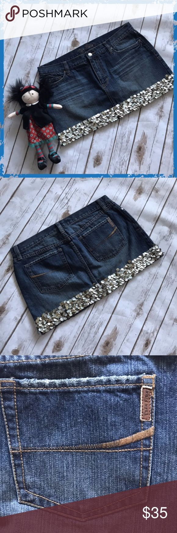 Ezra Fitch Blue Denim Sequined Mini Skirt Size 30 100% cotton, little stretch Mother of pearl sequins at the bottom, all around **Please read first 2 comments** Ezra Fitch Skirts