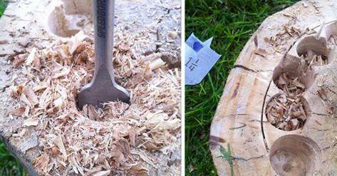 Bor huller i din grimme træstub – forvandl den til noget der gør alle naboerne grønne af misundelse!