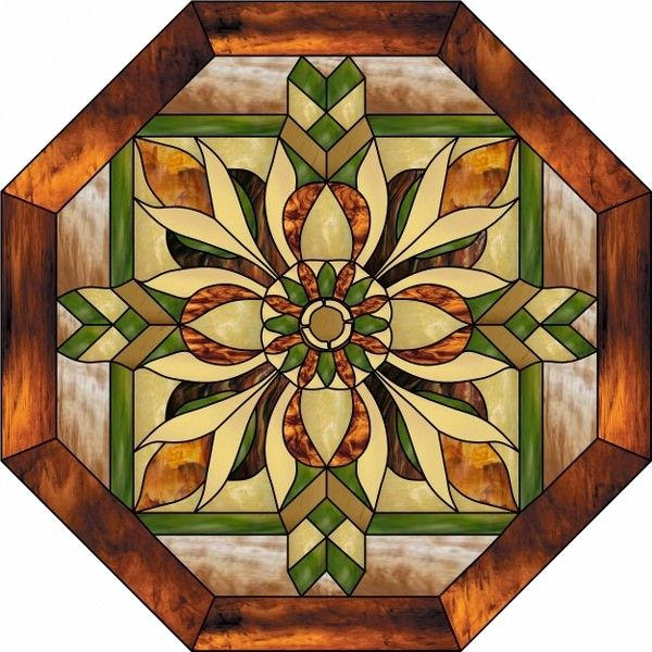 Nouveau Window Octagon Stained Glass Decorative Window