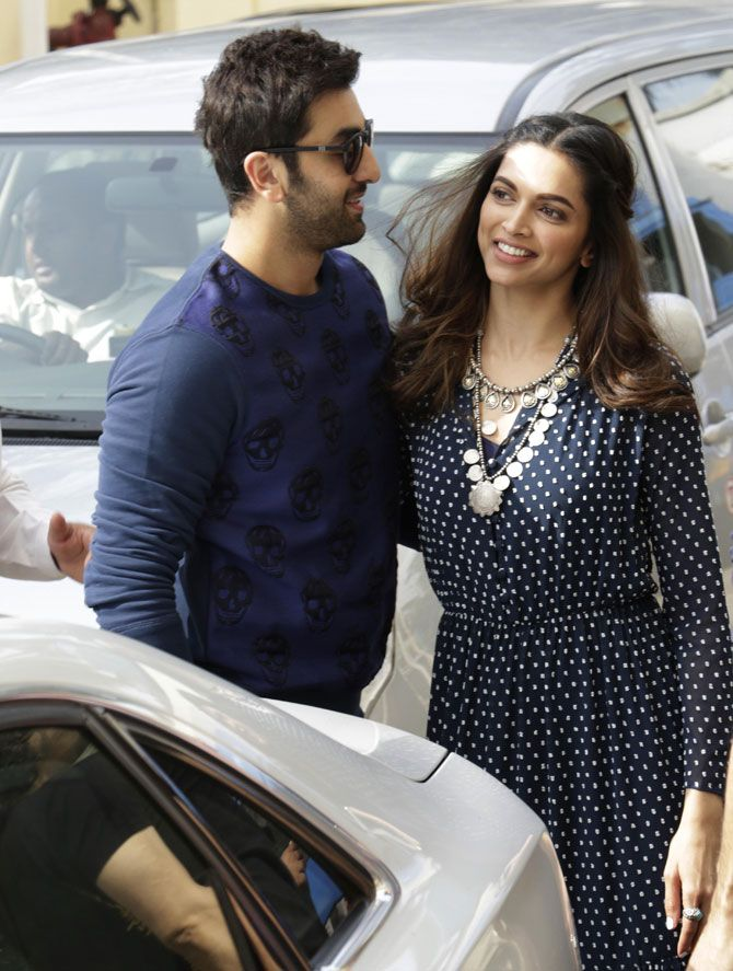 Ranbir Kapoor and Deepika Padukone exchange greetings after arriving at the venue for the trailer launch of #Tamasha. #Bollywood #Fashion #Style #Beauty #Handsome