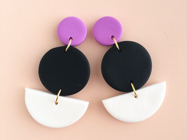Three tiered statement earrings in a colour palette of violet, black and white. by colourwork on Etsy https://www.etsy.com/au/listing/482281981/three-tiered-statement-earrings-in-a