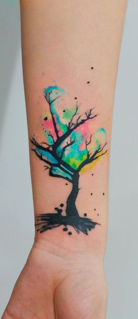 Flower Watercolor Tattoo Idea - MyBodiArt.com