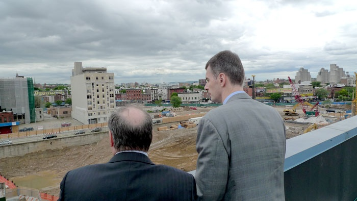 Mikhail Prokhorov checks out the Brooklyn lot that will be the new home of the New Jersey Nets in 2012.