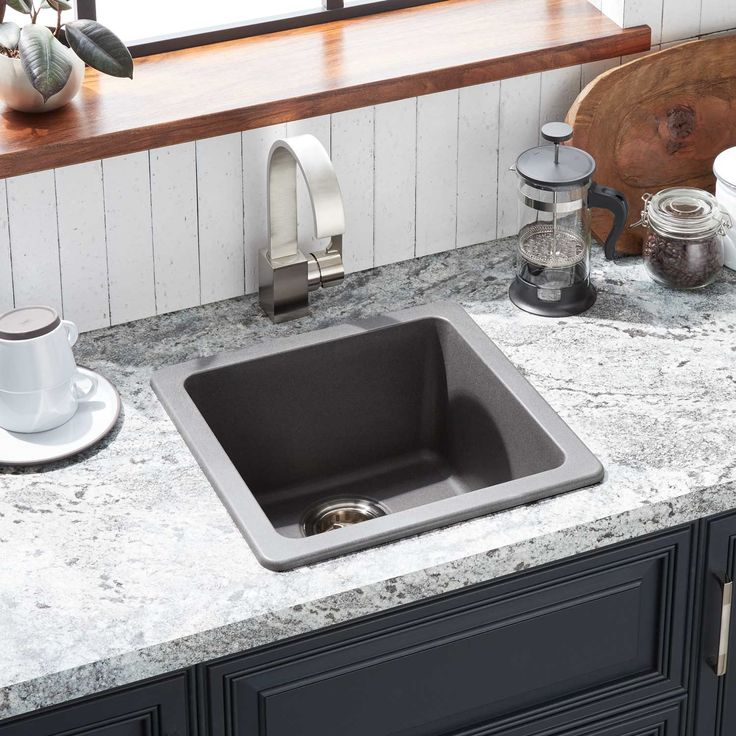 "17"" Totten Granite Composite DropIn Prep Sink In Gray"