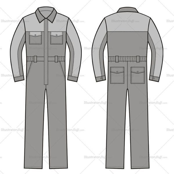 Fashion flat vector templates front and back fashion illustration of work coveralls with patch and slash pockets on front and patch pockets on back.
