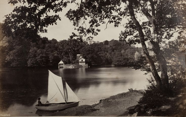Sharpham - One image from about 25 double-sided loose album pages most seemingly dating from the 1880s or 1890s typically hand-captioned and depicting 'tourist' destinations across the UK.  All images shared as Public Domain for free re-use.