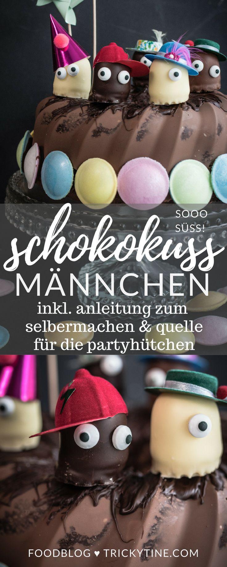 DIY anleitung und rezept für lustige schokokuss männchen mit partyhütchen ♥ trickytine.com