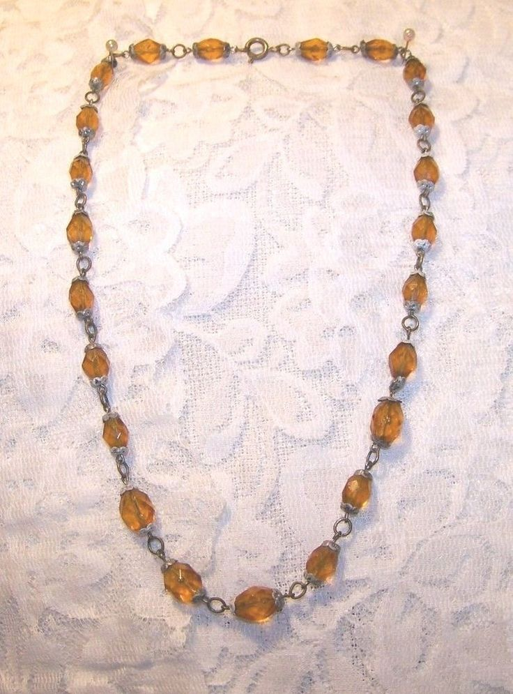 Vintage Amber Color Crystal Bead Necklace