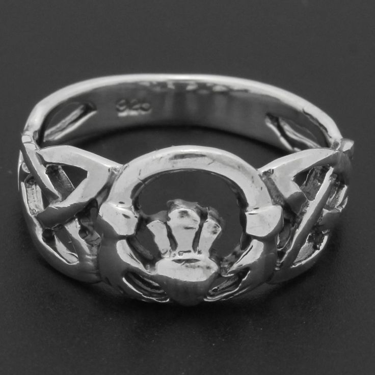 925 Sterling Silver Irish Hearts Celtic Claddagh Hand Heart Crown Band Ring