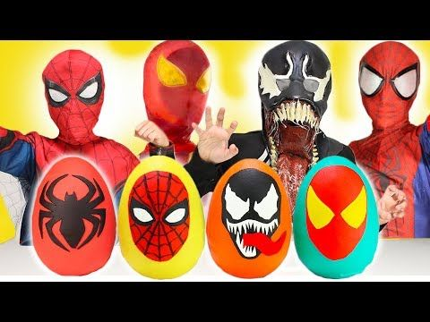 NEW Ultimate Spiderman Homecoming Play-Doh Surprise Eggs Opening Fun Toys for Kids Venom IronSpider - YouTube
