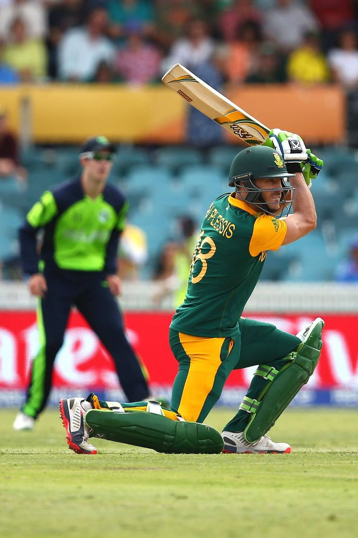 Faf du Plessis of South Africa bats during the 2015 ICC Cricket World Cup match between South Africa and Ireland at Manuka Oval on March 3, 2015 in Canberra, Australia.