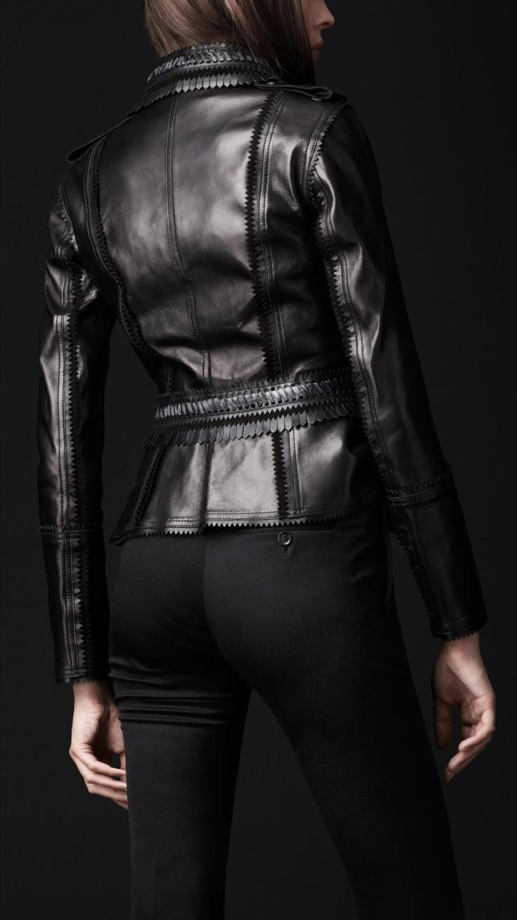 Belted leather jacket, black pants