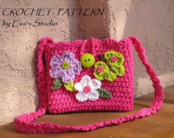 Girls Bag / Purse with Ladybug and Flowers Crochet by EvasStudio