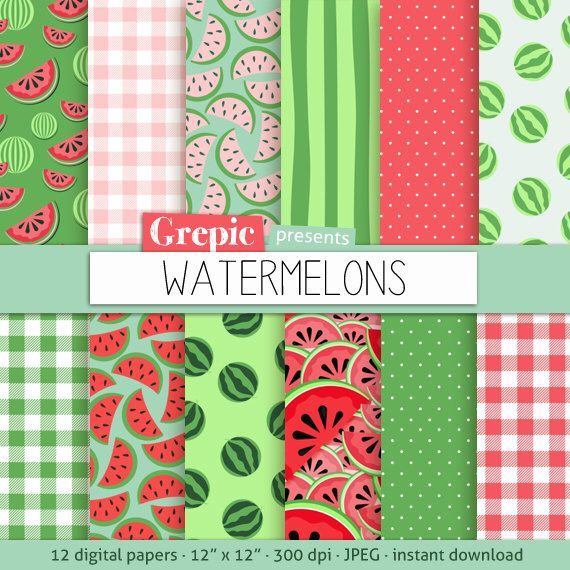 "Watermelon digital paper: ""WATERMELONS"" digital paper pack with red, green and pink watermelon backgrounds and textures, gingham, polkadots by Grepic on Etsy https://www.etsy.com/listing/155514568/watermelon-digital-paper-watermelons"