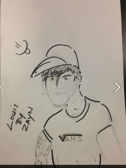 """Louisby Zayn Malik......note the """"vans"""" t shirt: Direction Infection, Zayn Malik, Zayn S Drawing, Direction 5Sos, St. Louis, Louis Tomlinson, Drawings Of, Direction 3, Zayns Drawing"""