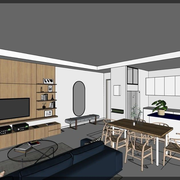 Modern And Chic Interior Design Proposal For A Rivervale Apartment Interiordesign Renovation Carpentry Furniture In progress living room carpentry
