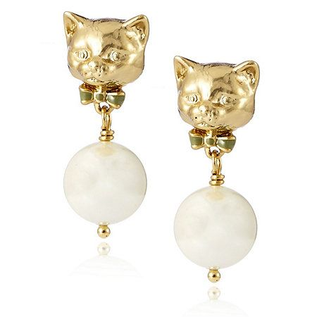 Bill Skinner 18ct Gold Plated Cat & Pearl Drop Earrings