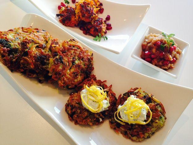 Chanukah LATKES 3 ways plus delicious condiments to dress them up!