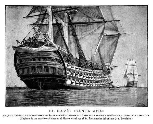 El Navío Santa ana comandado por José Ramon Gardoqui