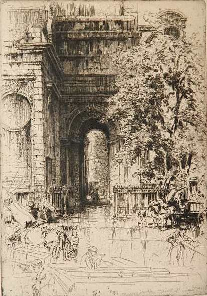 Hedley Fitton- ''Porch of St. Magnus The Martyr, London Bridge''- etching