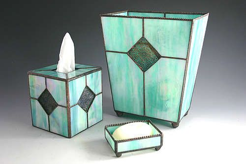 Sunflower glass studio bath suite accessories stained for Aqua bath accessories