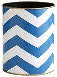 Blue Chevron Wastebasket - contemporary - waste baskets - Wisteria