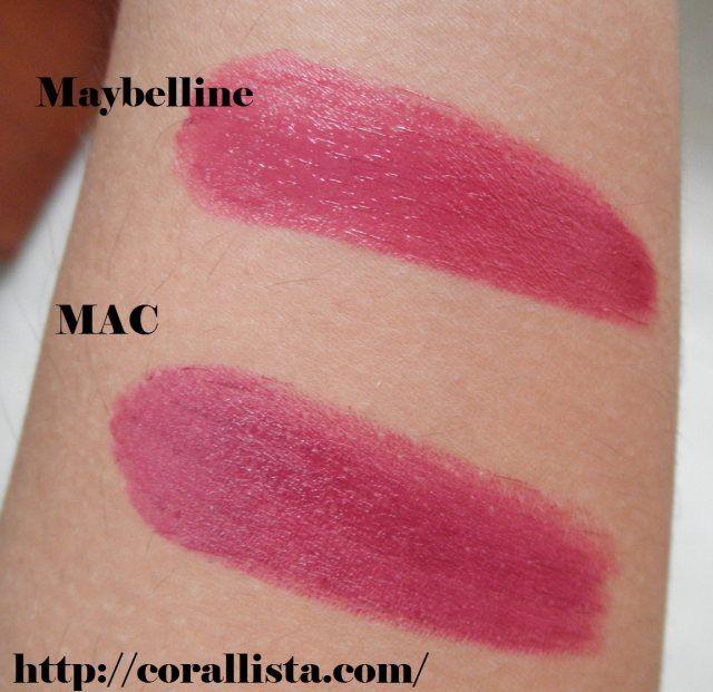 MAC lápiz labial Rebel incauto - Maybelline la JOYAS Berry brillante (3)