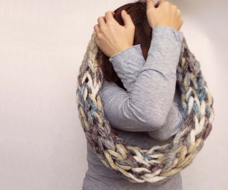 Knit infinity scarf, winter scarf, arm knit cowl by 6plus on Etsy https: