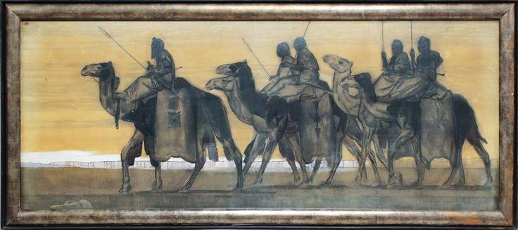 """Paul JOUVE (1878 - 1973) Caravane de Touaregs Oullimindens (vers 1931) Important dessin rehaussé d'huile marouflé d'origine sur toile signé, titré et situé """"Tahoua"""" en bas à droite. Dans son cadre d'origine… - SGL Enchères - 01/11/2015"""