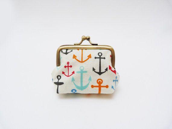 Coin purse nautical anchor print multi colour by cheekyleopard