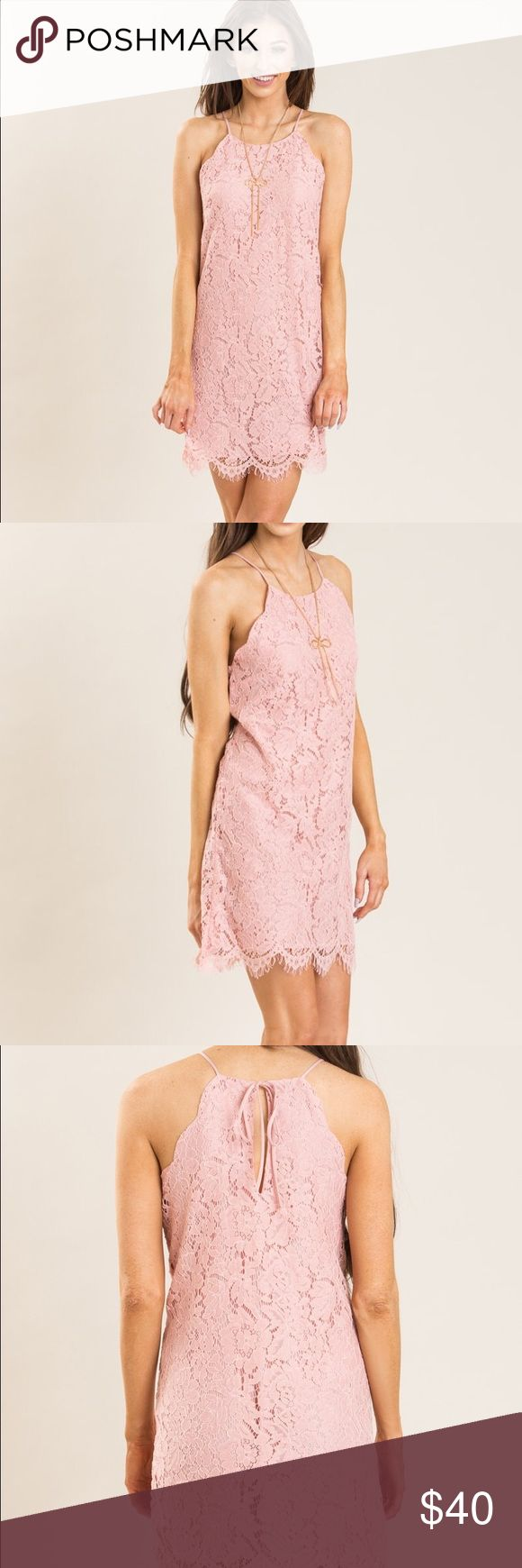 Pink Lace Shift Dress with Scallop Details A cute and chic shift dress with beautiful lace and scallop details. This is a great dress to wear for weddings, dates, and tea parties. Would look great paired with strappy nude heels and delicate necklaces. Brand new and has not been worn ▪️Fully Lined. ▪️60% Nylon 40% Cotton ▪️Lining: 100% Rayon. Everly Dresses Mini