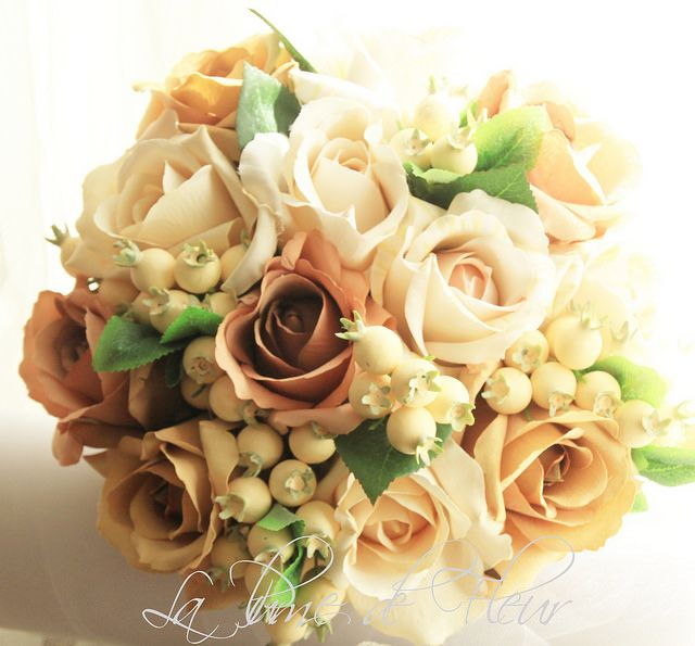 Chrissie's bridal bouquet Columbian style roses - Dark Cream, Dusk, Caramella and Latte and ivory snowberries