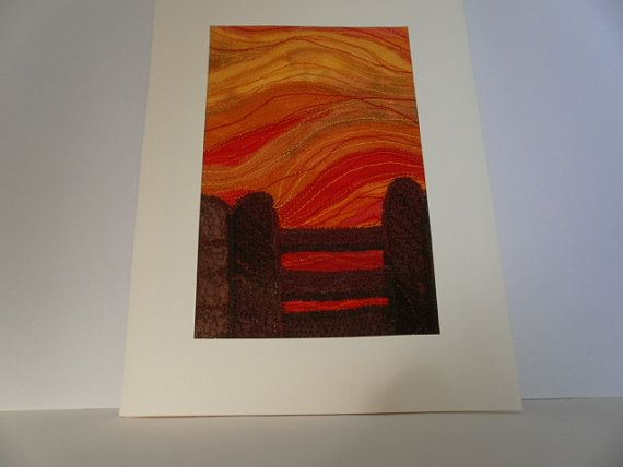 Orange Sunset Textile Art by wendieshouse on Etsy