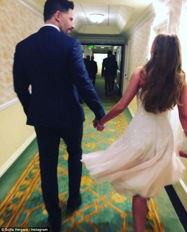 'Goodnight!!': Following the night's proceedings, the stunning star shared a snap of her and her future husband